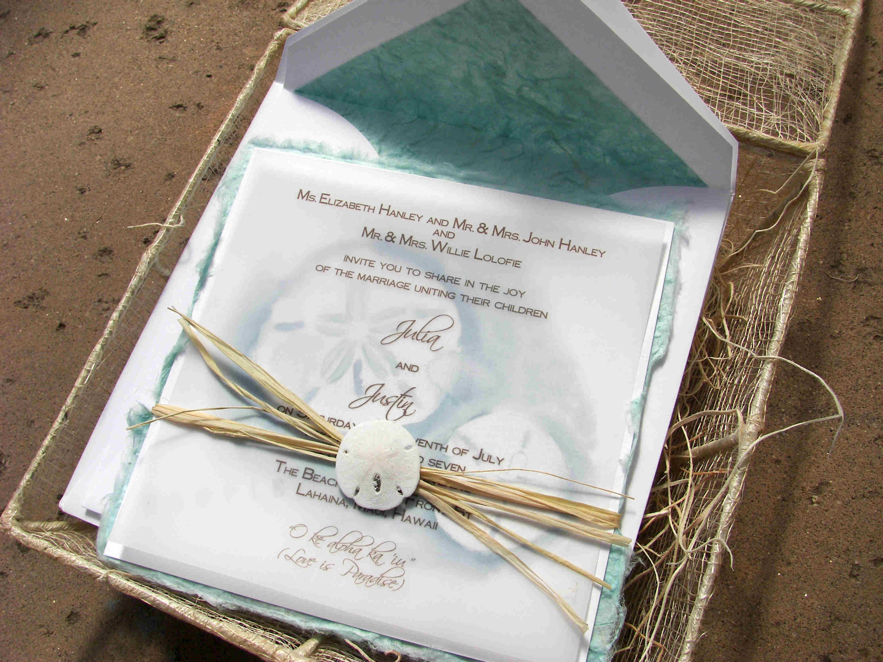 Starfish Sand Dollar Wedding Invitation Stamping Block